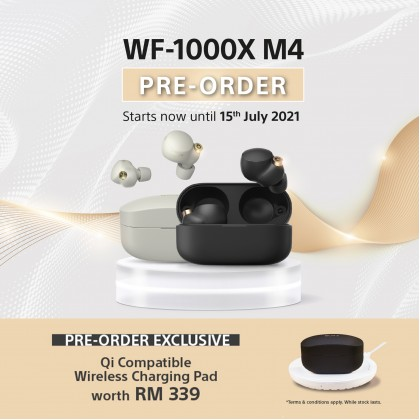 SONY WF-1000XM4 Truly Wireless Noise Cancelling Headphones (With Free Gift) Pre-Order ETA July.2021