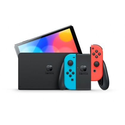 Nintendo Switch (OLED model) Neon Red/Neon Blue Console Maxsoft Set with Free Gift